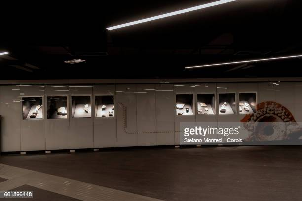 General interior views during a media presentation of the new Metro C stop at San Giovanni on March 31 2017 in Rome Italy Inside the artifacts found...