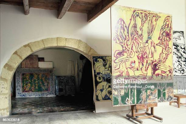 General interior views of the workshop studio of Belgian painter Pierre Alechinsky on August 7 1995 in Provence France