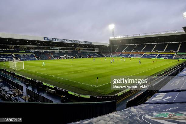 General internal view of match action at The Hawthorns, home stadium of West Bromwich Albion under overcast skies during the Black Country derby...