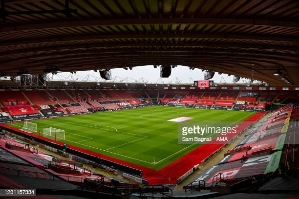 General internal view of St Marys Stadium, home stadium of Southampton ahead of the Premier League match between Southampton and Wolverhampton...