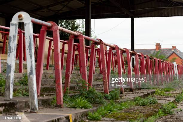 A general internal view of terraced standing at Racecourse Ground home stadium of Wrexham prior to the UEFA U21 Championship Qualifying match between...
