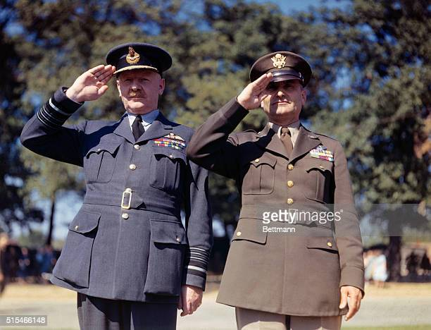 General Ira Eaker and General Arthur Harris are shown saluting Undated