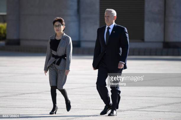 General James Mattis US secretary of defense right and Tomomi Inada Japan's defense minister attend a welcome ceremony in Tokyo Japan on Saturday Feb...