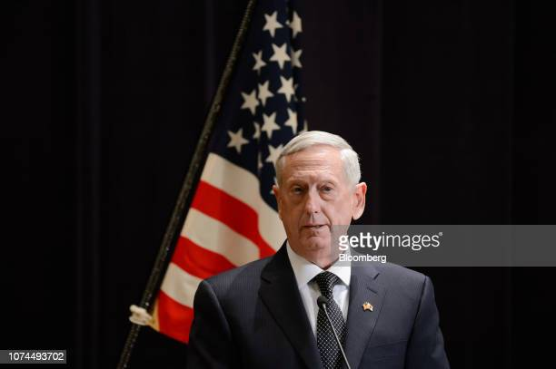 General James Mattis US secretary of defense speaks during a news conference with Tomomi Inada Japan's defense minister not pictured in Tokyo Japan...