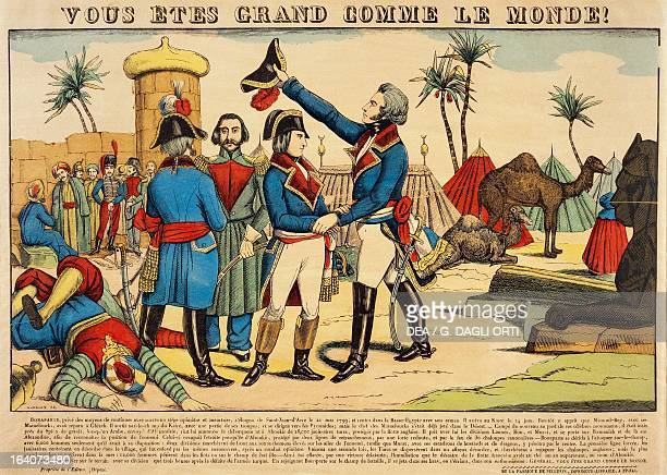 General JeanBaptiste Kleber pays tribute to Napoleon Bonaparte after his victory at the Battle of the Pyramids July 1798 popular print by JeanCharles...