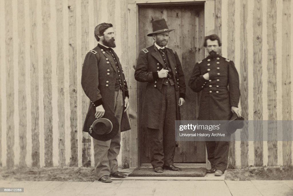 General John A. Rawlins, left, General Ulysses S. Grant, center, and Unidentified Officer, Portrait, 1861 : News Photo