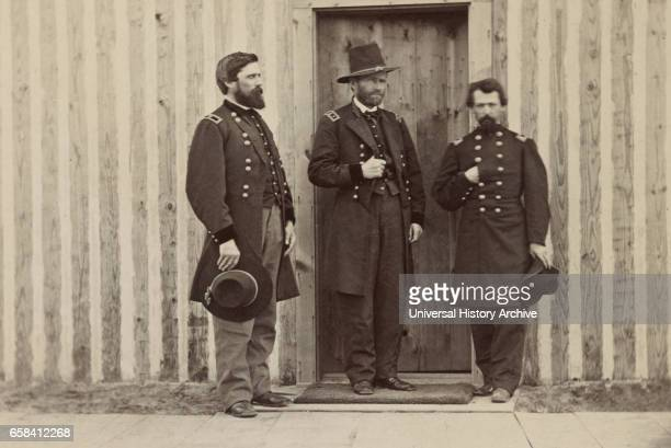 General John A Rawlins left General Ulysses S Grant center and Unidentified Officer Portrait 1861