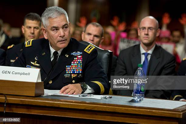 General John Campbell commander of the US forces in Afghanistan speaks during a Senate Armed Forces Committee hearing in Washington DC on Tuesday Oct...