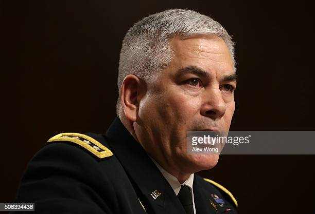 General John Campbell Commander of United States ForcesAfghanistan testifies during a hearing before the Senate Armed Services Committee February 4...