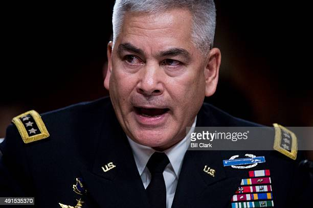General John F Campbell Resolute Support Mission Commander in Afghanistan testifies during the Senate Armed Services Committee hearing on The...