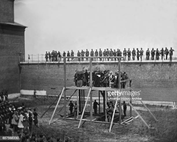 General John F Hartranft on Scaffold Reading Death Warrant to Conspirators of Assassination of US President Abraham Lincoln Arsenal Prison Washington...