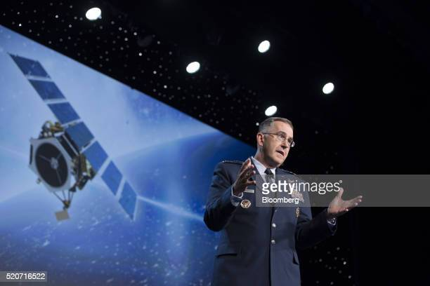 General John Hyten commander of United States Air Force Space Command speaks during the 32nd Space Symposium in Colorado Springs Colorado US on...