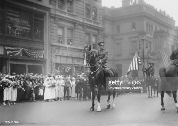 US General John J Pershing on Horseback Leading World War I Veterans during Parade New York City New York USA Bain News Service September 10 1919