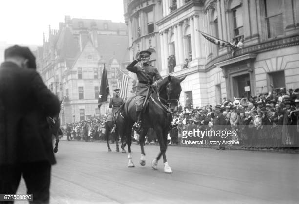 US General John J Pershing Saluting on Horseback while Leading World War I Veterans during Parade New York City New York USA Bain News Service...