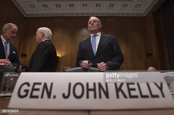 General John Kelly USMC arrives to testify at the Senate Homeland Security and Governmental Affairs Committee hearing on his nomination to be...