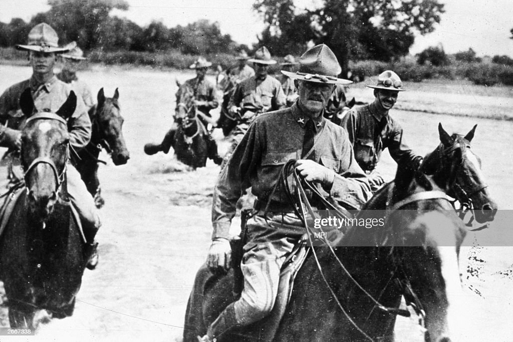 General John Pershing (1860 - 1948) leading American troops in pursuit of Mexican bandits led by Pancho Villa.