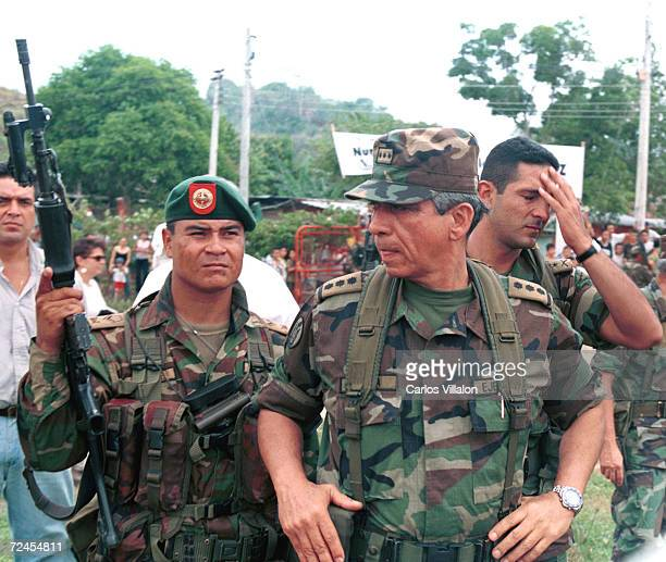 General Jorge Mora Rangell Commander in Chief of the Colombian army visits the former Revolutionary Armed Forces of Colombia enclave in San Vicente...