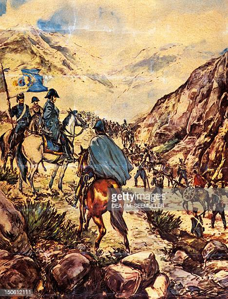 General Jose de San Martin also known as the Liberator of the South crossing the Andes with his army towards Peru during the Latin American Wars of...