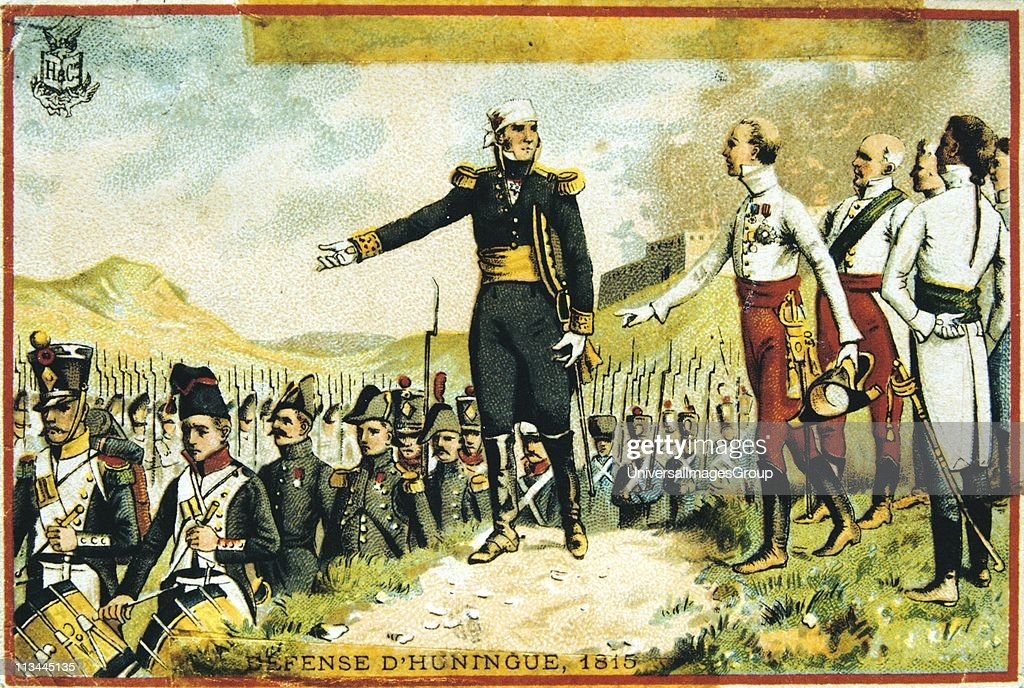 General Joseph Barbanegre (1772-1830) surrendering the of Hunigue to the Austrians, 26 August 1815. The French garrison of 135 was allowed to march out of the city with full military honours. Barbanegre with Archduke John of Austria. Trade card c1900. Chr... : Nachrichtenfoto