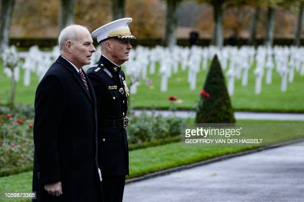 US General Joseph Dunford and retired United States Marine Corps general John F Kelly White House Chief of Staff visit the AisneMarne American...