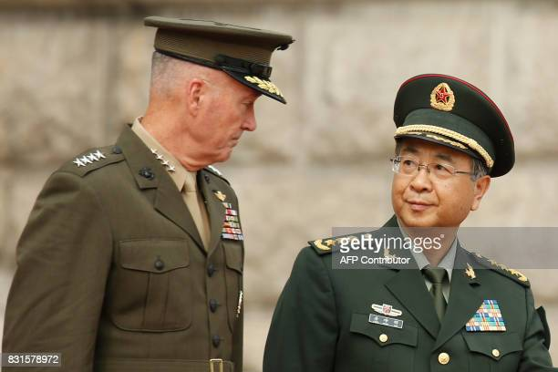 General Joseph Dunford chairman of the US Joint Chiefs of Staff and his Chinese counterpart General Fang Fenghui chief of the general staff of the...