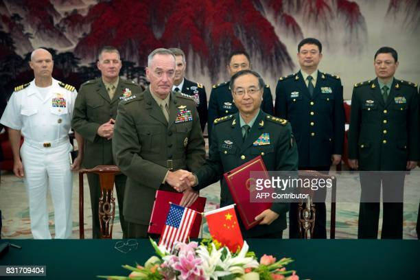 General Joseph Dunford chairman of the US Joint Chiefs of Staff and Chief of the General Staff of the Chinese People's Liberation Army General Fang...