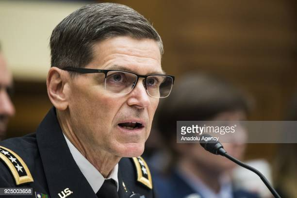 General Joseph L Votel Commander of US Central Command testifies before the House Armed Services Committee on challenges the US is facing towards...
