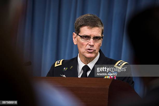 General Joseph Votel Commander of US Central Command gives a speech during a press briefing at the Pentagon in Arlington VA USA on August 30 2016 US...