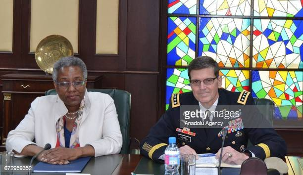 General Joseph Votel Commander of US Central Command meets with Minister of Foreign Affairs of the Republic of Uzbekistan Abdulaziz Kamilov in...