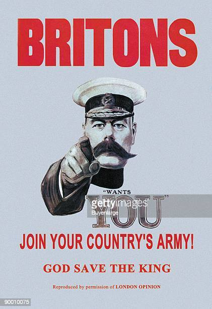 General Kitechener, Hero of Sudan shows the first I want you poster as he addressed the British Youth to Join the Military.