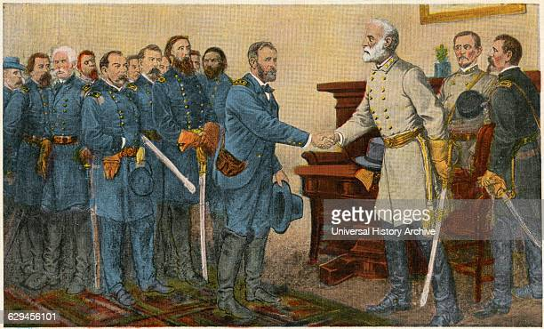 General Lee's Surrender to General Grant at Appomattox Virginia April 9th 1865 Postcard Reproduced from Painting by Thomas Nast