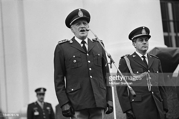 General Leopoldo Galtieri makes a public address in Buenos Aires, Argentina, during his military junta, April 1982. Galtieri was President of...