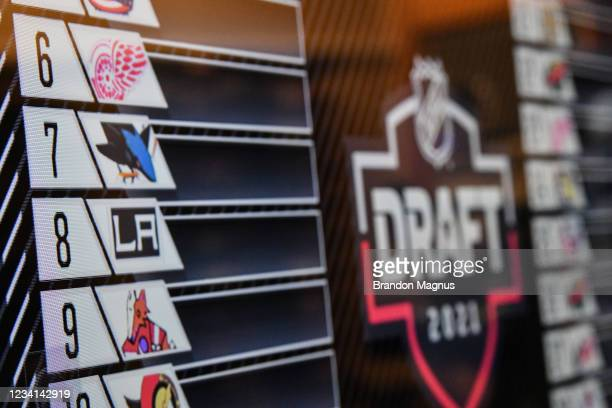 General look at the ty screen as the San Jose Sharks receive the 7th pick in the first round during the 2021 NHL Draft at SAP Center on July 23, 2021...