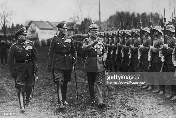 General Ludendorff right inspecting troops gathered at Titzing to mark the occasion of his 70th birthday 10th April 1935 He is with General Werner...