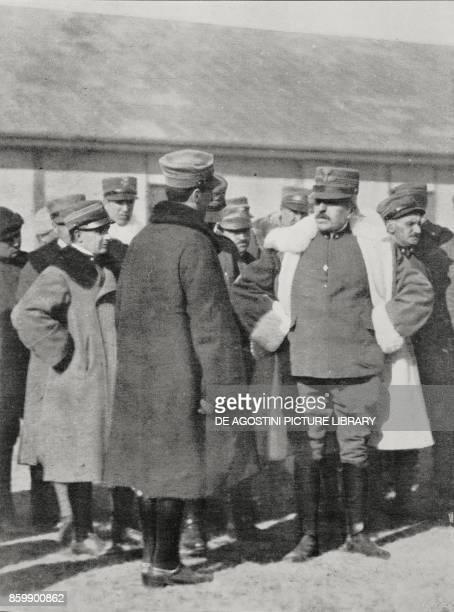 General Luigi Cadorna listening to the report of a pilot after the air raid on Ljubljana World War I from L'Illustrazione Italiana Year XLIII No 10...