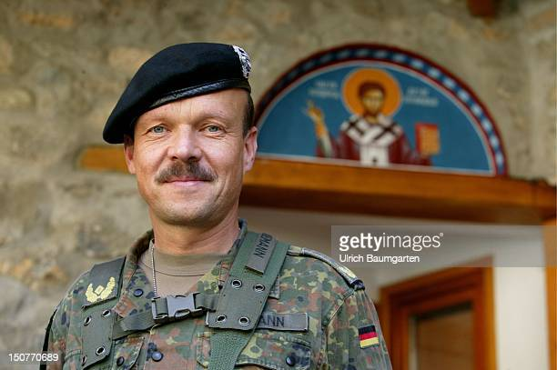 General Lutz NIEMANN commander multinational task force south at the entrance of the Archangel monastery