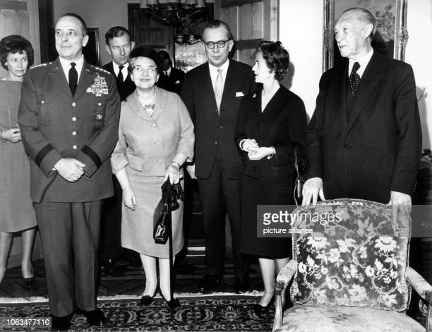 General Lyman L Lemnitzer his wife Katherin Lemnitzer Federal minister of defence Kai Uwe von Hassel his wife Elfie von Hassel and German chancellor...