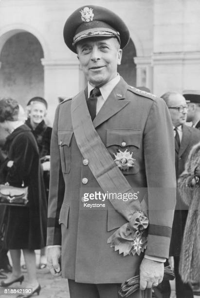 General Lyman Lemnitzer of the United States Army Supreme Allied Commander Europe of NATO after being presented with the Grand Cross of the Légion...