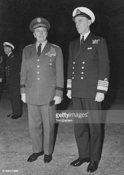General Lyman Lemnitzer of the United States Army Supreme Allied Commander Europe of NATO with Admiral Sir John Bush Allied CommanderinChief Western...
