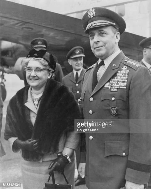 General Lyman Lemnitzer of the United States Army Supreme Allied Commander Europe of NATO arrives at Northolt with his wife UK 9th April 1963