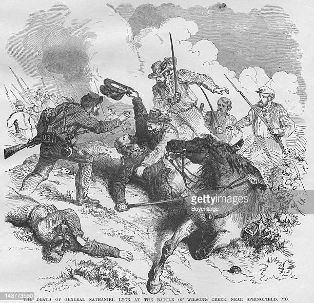 General Lyon killed at Wilson's Creek he falls to a force of Confederates 4 times his strength Springfield Missouri August 10 1861 From an issue of...