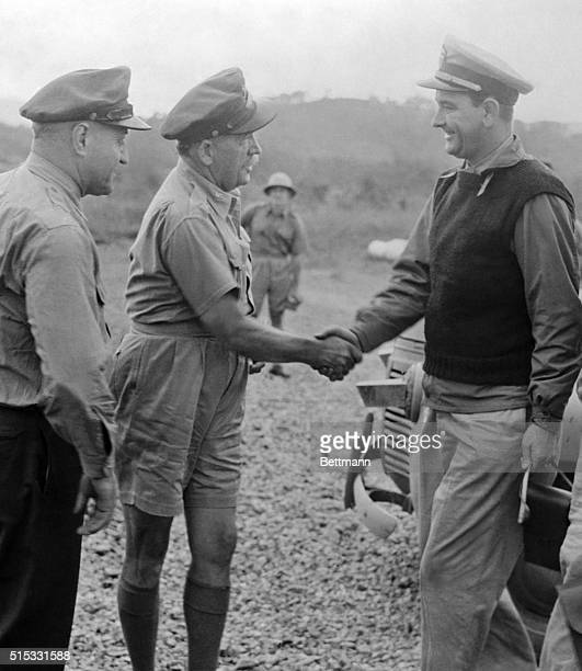 General M Scanlon General Ralph Royce and Lieutenant Commander Lyndon Johnson in New Guinea