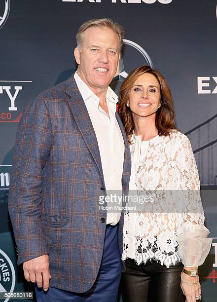 General Manager and Executive Vice President of Football Operations for the Denver Broncos John Elway and Paige Green attend ESPN The Party on...