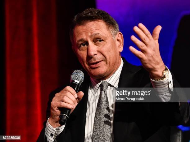 General manager and executive Vice President of the Detroit Red Wings Ken Holland take part in a discussion at the Chamber of Commerce of...
