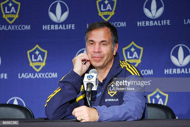 General Manager and Head Coach Bruce Arena of Los Angeles Galaxy addresses the media following the MLS game against DC United at Home Depot Center on...