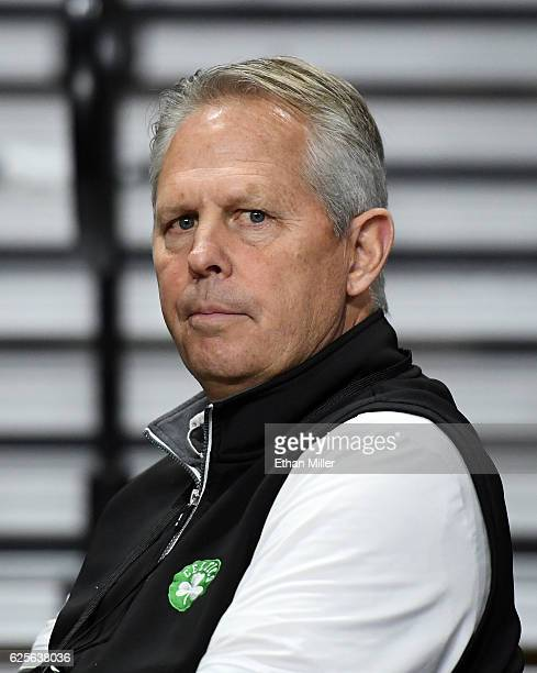 General Manager and President of Basketball Operations Danny Ainge of the Boston Celtics watches a game between the Vanderbilt Commodores and the...
