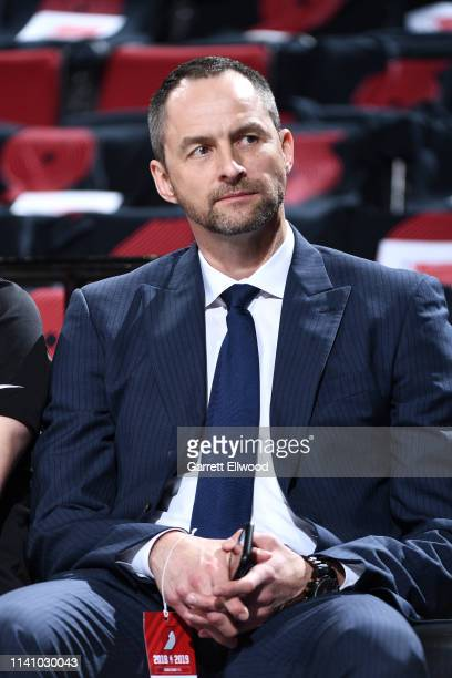 General Manager Arturas Karnisovas of the Denver Nuggets looks on before Game Three of the Western Conference Semifinals against the Portland Trail...