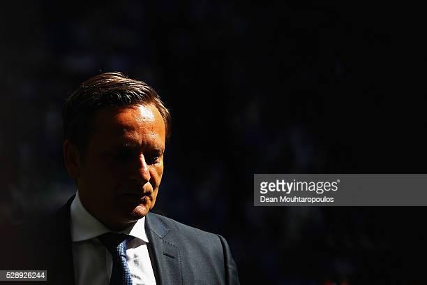 General manager at Schalke 04 Horst Heldt looks on prior to the Bundesliga match between FC Schalke 04 and FC Augsburg held at VeltinsArena on May 7...