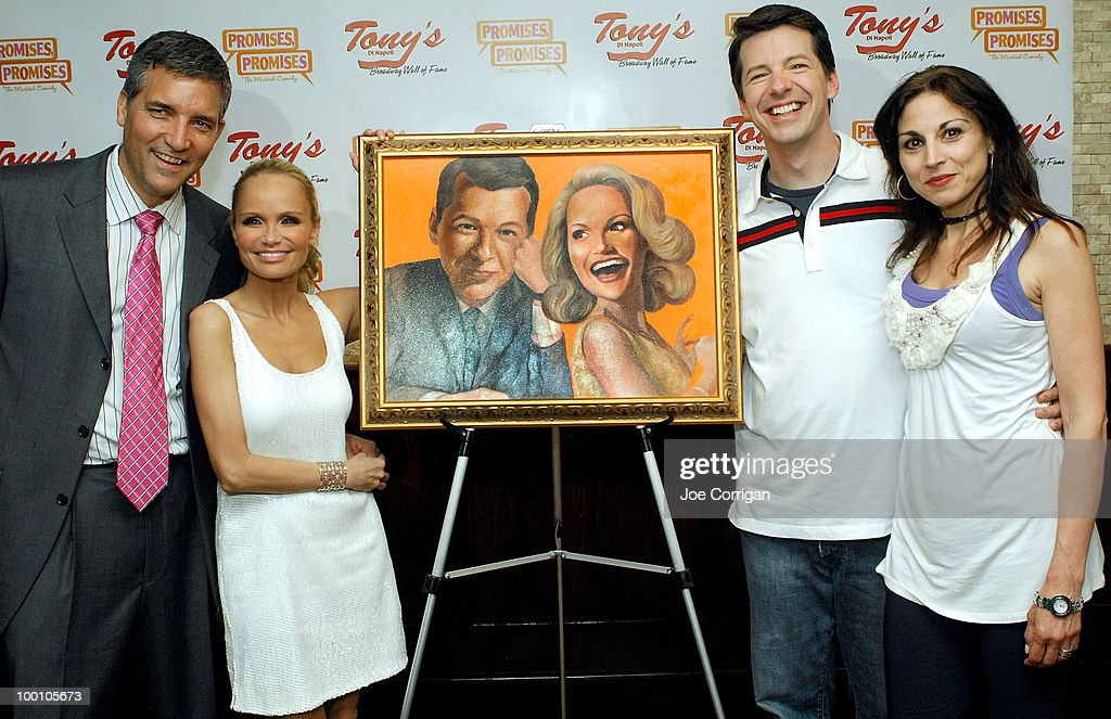 General manager at Tony's Di Napoli Bruce Dimpflmaier, actors Kristin Chenoweth, Sean Hayes and host/media personality Valerie Smaldone attend Sean Hayes and Kristin Chenoweth's portrait unveiling at Tony's di Napoli on May 20, 2010 in New York City.