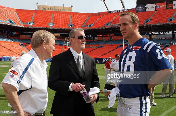 General manager Bill Polian team owner Jim Irsay and Peyton Manning of the Indianapolis Colts look on during Super Bowl XLIV Media Day at Sun Life...